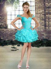 Elegant Off The Shoulder Sleeveless Homecoming Dress Mini Length Beading and Ruffles Aqua Blue Organza