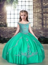 Dramatic Turquoise Tulle Lace Up Off The Shoulder Sleeveless Floor Length Little Girls Pageant Dress Wholesale Beading