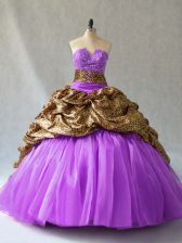 Top Selling Lavender Quinceanera Dress Sweet 16 and Quinceanera with Beading and Pick Ups V-neck Sleeveless Lace Up