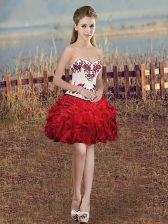 New Arrival Red Sleeveless Mini Length Embroidery and Ruffles Lace Up Dress for Prom