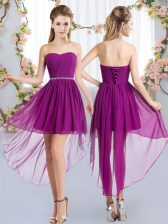 Fine Empire Quinceanera Dama Dress Purple Strapless Chiffon Sleeveless High Low Lace Up