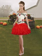 Red Ball Gowns Embroidery and Ruffles Prom Dress Lace Up Organza Sleeveless Mini Length
