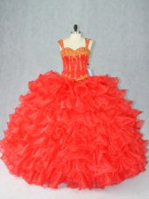 Red Ball Gowns Organza Straps Sleeveless Beading and Ruffles Floor Length Lace Up 15th Birthday Dress