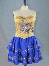 Mini Length Royal Blue Prom Dresses Satin Sleeveless Beading and Embroidery