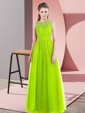 Amazing Sleeveless Tulle Floor Length Side Zipper Prom Evening Gown in Yellow Green with Beading