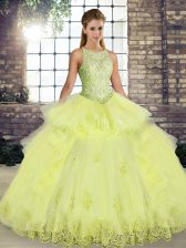 Colorful Tulle Scoop Sleeveless Lace Up Lace and Embroidery and Ruffles Sweet 16 Dress in Yellow