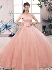 Simple Pink Tulle Lace Up Off The Shoulder Short Sleeves Floor Length Sweet 16 Dresses Lace and Hand Made Flower