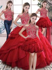 Stunning Floor Length Lace Up Quinceanera Gowns Red for Sweet 16 and Quinceanera with Beading and Ruffles
