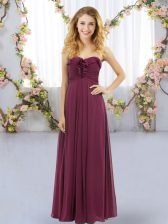 Burgundy Sleeveless Chiffon Lace Up Dama Dress for Wedding Party