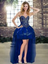 High Low A-line Sleeveless Royal Blue Prom Gown Lace Up