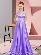 On Sale Lavender Evening Dress Elastic Woven Satin Brush Train Sleeveless Beading