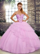 Lilac Tulle Lace Up 15th Birthday Dress Sleeveless Brush Train Beading and Ruffled Layers