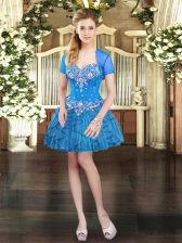 Enchanting Tulle Sleeveless Mini Length Prom Gown and Beading and Ruffles