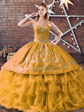 Graceful Sweetheart Sleeveless Sweet 16 Quinceanera Dress Floor Length Embroidery and Ruffled Layers Gold Organza