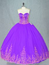 Suitable Purple Lace Up Sweetheart Beading 15th Birthday Dress Tulle Sleeveless