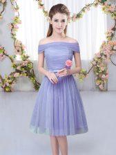 Lavender Short Sleeves Belt Knee Length Quinceanera Court of Honor Dress