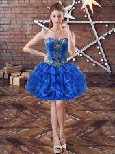Amazing Sleeveless Mini Length Embroidery and Ruffled Layers Lace Up Prom Gown with Royal Blue