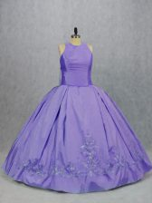 New Arrival Lavender Ball Gowns Embroidery Quinceanera Dresses Zipper Taffeta Sleeveless Floor Length