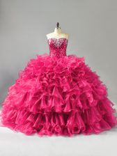 Pretty Hot Pink Ball Gowns Sweetheart Sleeveless Organza Floor Length Lace Up Beading and Ruffles Vestidos de Quinceanera