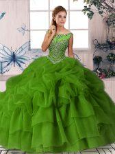 Fabulous Green Ball Gowns Beading and Pick Ups 15 Quinceanera Dress Zipper Organza Sleeveless