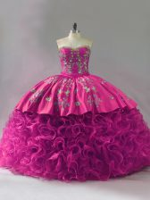 Ball Gowns Quinceanera Dresses Fuchsia Sweetheart Fabric With Rolling Flowers Sleeveless Floor Length Lace Up