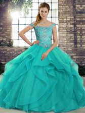 Free and Easy Sleeveless Brush Train Beading and Ruffles Lace Up Quinceanera Dresses
