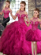 Best Selling Beading and Ruffles Sweet 16 Quinceanera Dress Fuchsia Lace Up Sleeveless Floor Length
