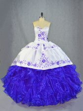 Decent Ball Gowns Sleeveless Blue And White Sweet 16 Dress Brush Train Lace Up