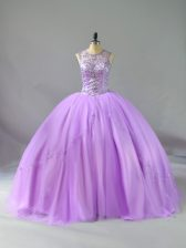 Lavender Lace Up Scoop Beading Quinceanera Gowns Tulle Sleeveless