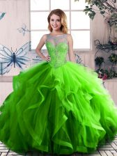 Sleeveless Tulle Lace Up Vestidos de Quinceanera in Green with Beading and Ruffles