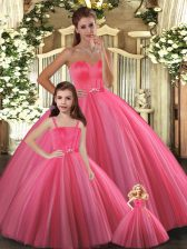 Hot Selling Sleeveless Floor Length Beading Lace Up Quinceanera Dress with Coral Red