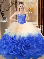 Sexy Multi-color Sweetheart Lace Up Beading and Ruffles Sweet 16 Quinceanera Dress Sleeveless