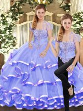 Inexpensive Lavender Organza Lace Up Quinceanera Gown Sleeveless Floor Length Beading and Ruffled Layers