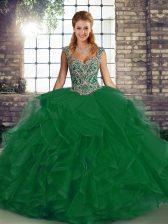 Modest Green Lace Up Sweet 16 Dress Beading and Ruffles Sleeveless Floor Length