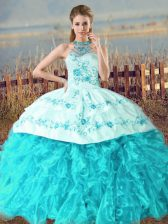 Sumptuous Aqua Blue Ball Gowns Organza Halter Top Sleeveless Embroidery and Ruffles Lace Up Quince Ball Gowns Court Train