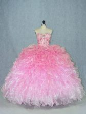 Multi-color Sleeveless Floor Length Beading Lace Up Quinceanera Dress