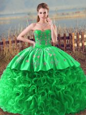 Luxury Green Sleeveless Fabric With Rolling Flowers Lace Up Quinceanera Gown for Sweet 16 and Quinceanera