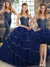 Navy Blue 15th Birthday Dress Sweetheart Sleeveless Brush Train Lace Up