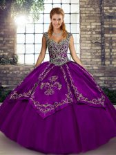 Sleeveless Floor Length Beading and Embroidery Lace Up Sweet 16 Dress with Purple