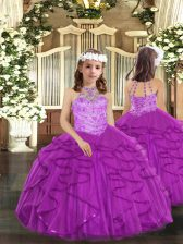 On Sale Floor Length Purple Little Girl Pageant Gowns Tulle Sleeveless Beading and Ruffles