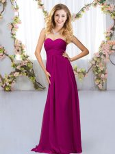 Most Popular Fuchsia Empire Sweetheart Sleeveless Chiffon Floor Length Criss Cross Beading Dama Dress