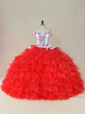 Embroidery and Ruffles Ball Gown Prom Dress White And Red Lace Up Sleeveless Brush Train