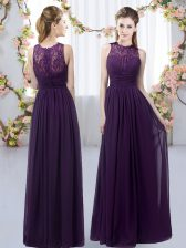 Dark Purple Chiffon Zipper Damas Dress Sleeveless Floor Length Lace