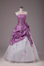Admirable Strapless Sleeveless Lace Up 15th Birthday Dress White And Purple Organza and Taffeta