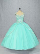 Beautiful Beading 15th Birthday Dress Apple Green Lace Up Cap Sleeves Brush Train