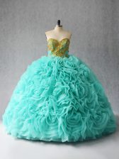 Flare Sleeveless Fabric With Rolling Flowers Court Train Lace Up 15 Quinceanera Dress in Aqua Blue with Beading and Ruffles