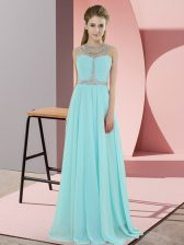 Baby Blue Sleeveless Chiffon Zipper Prom Party Dress for Prom and Party