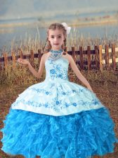 Inexpensive Sleeveless Lace Up Floor Length Beading and Embroidery and Ruffles Little Girl Pageant Gowns