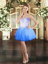 Blue Lace Up Homecoming Dress Beading Sleeveless Mini Length