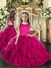 Hot Selling Sleeveless Tulle Floor Length Lace Up Little Girls Pageant Dress Wholesale in Fuchsia with Ruffles